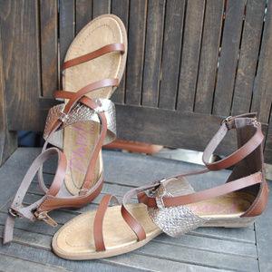 BLOWFISH MALIBU Brown Silver Gladiator Sandal 7.5
